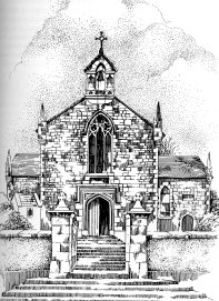 Drawing of Kildysart Church by Hilary Gilmore