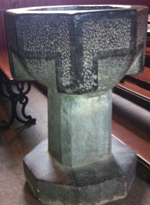 Holy water font from Canons' Island