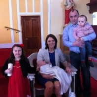 Dáire Shannon with his parents Agnes and Gerard, his sister Michelle and brother Stephen on his baptism day.