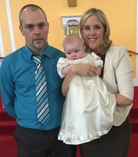 Sophie Mia Pio Doohan with her parents Diane and Kieran on her baptism day.