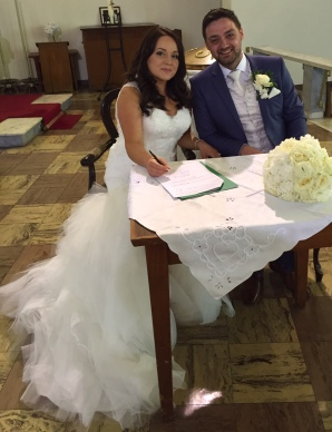 Stephanie and Daniel on their wedding day - 15 August 2015.