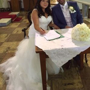 Stephanie and Daniel on their wedding day - 15 August 2015.