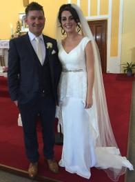 Sinead Moloney and Dylan Fox on their wedding day 6 May 2016