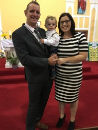 Jack Ross Farrell on his baptism day with his parents Caroline and Kevin, Cahercon.