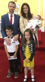 Max Seán Garry with his parents Shona & Noel, brother Alex & sister Isabelle on his baptism day.