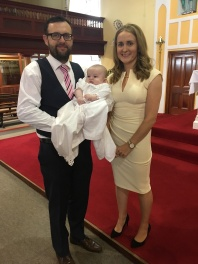 Mark Anthony Solomon Cleary on his baptism day with his parents Rebecca and Sean, Ballynacragga.