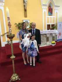 Darren Francis Bohannon with his parents Yvonne and Alan and sister Chloe on his baptism day.