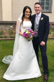 Marie and Liam on their wedding day.